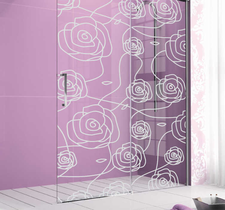 TenStickers. Sticker cloison de douche roses. Sticker pour paroi de douche représentant des roses. Un autocollant idéal pour apporter une touche fleurie et romantique à votre salle de bain. Autocollant économique et de bonne qualité avec une forte résistance à l'eau.
