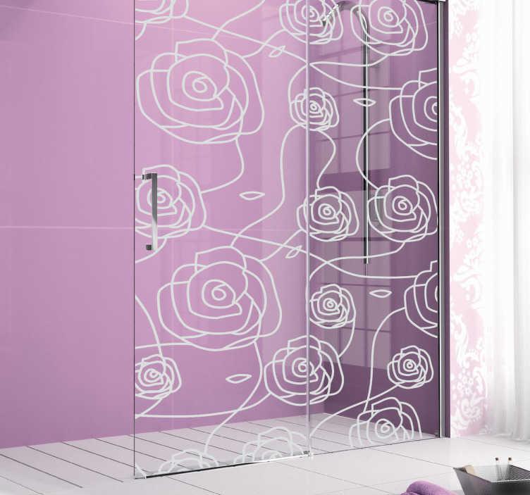 sticker cloison de douche roses tenstickers. Black Bedroom Furniture Sets. Home Design Ideas