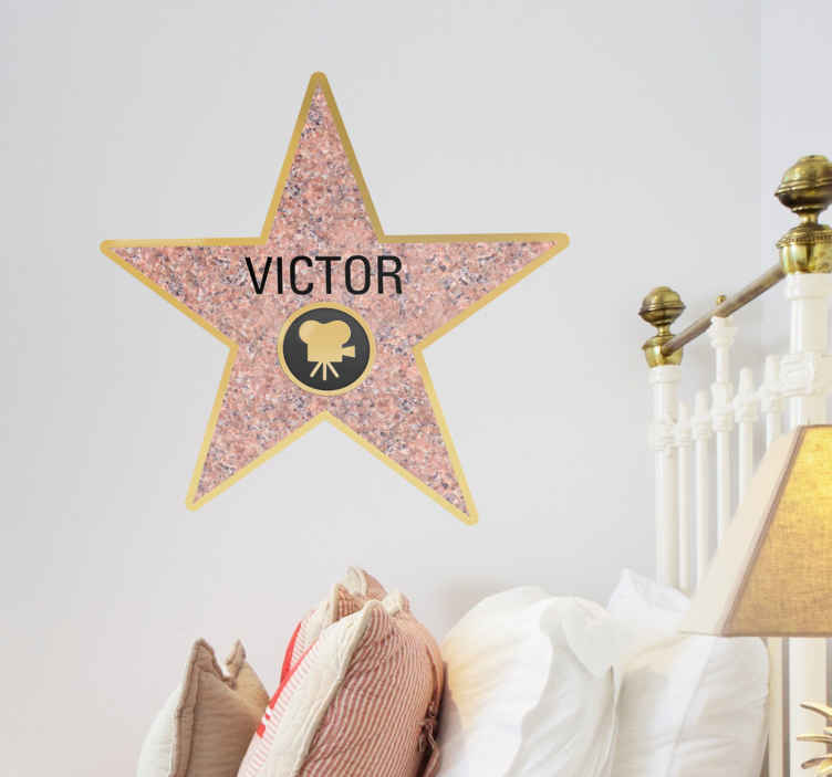 TenStickers. Personalised Hollywood Star Wall Sticker. Are you already a superstar or a star in the making? A fantastic customisable design from our collection of star wall stickers that you will love!