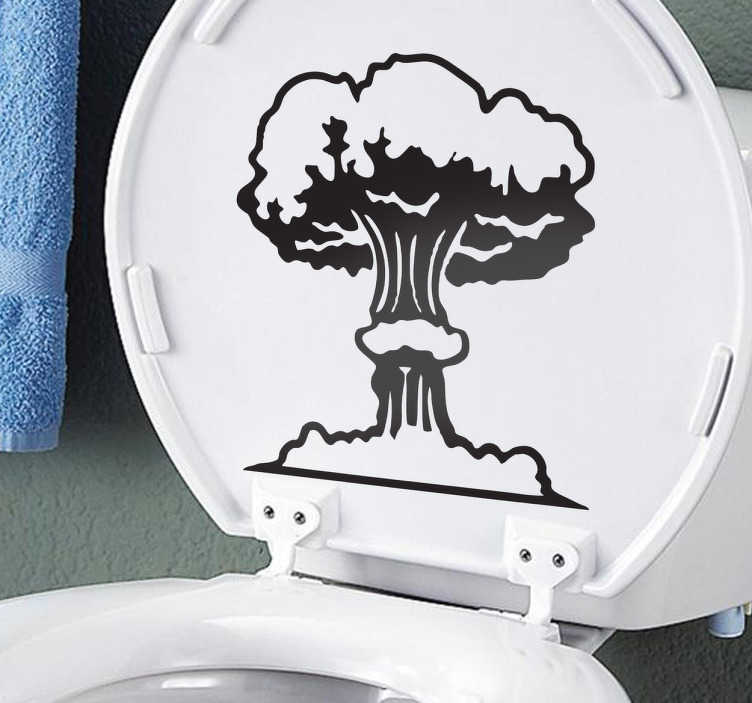 TenStickers. Nuclear bomb sticker. Monochrome bathroom sticker illustrating a nuclear bomb going off from within the toilet. cartoon decal perfect for surprising your guests.