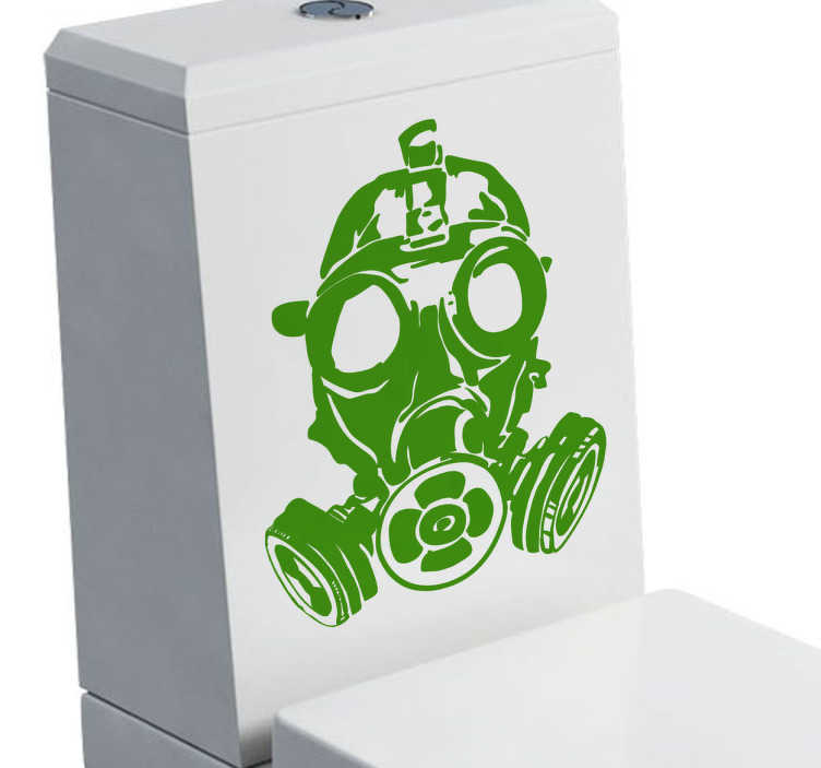 TenStickers. Gas Mask Sticker. Bathroom sticker illustrating a gas mask available in 50 different colours. funny decal ideal for an original decor for your toilet. Use this detailed monochrome sticker to warn people of the inevitable smells to come in a hilarious way.