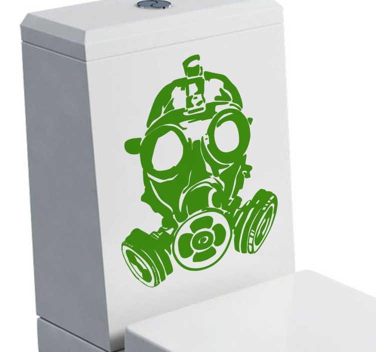 TENSTICKERS. ガスマスクステッカー. 50種類の異なる色で使用可能なガスマスクを示す浴室のステッカー。あなたのトイレのための元のインテリアのための理想的なデカール理想的な。この詳細なモノクロのステッカーを使用して、避けられない匂いの人々に陽気なやり方で来るよう警告します。