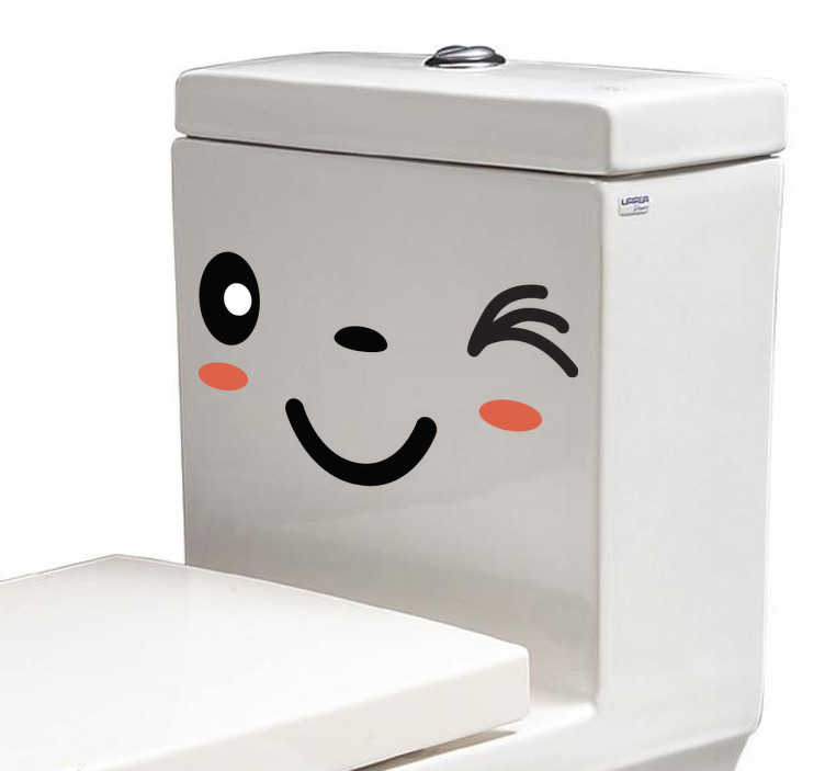 TenStickers. WC Aufkleber Zwinkerndes Gesicht. Humorvolle Dekorationsidee für das Badezimmer. Dieser Sticker mit dem lustigen zwinkernden Gesicht macht Ihre Toilette zu einem echten Unikat.