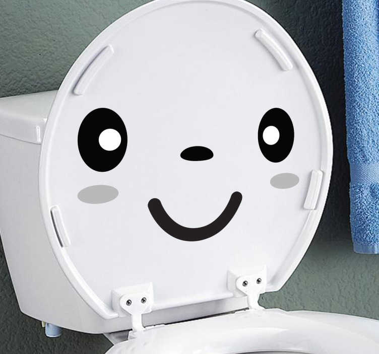 TenStickers. Smiley Face Toilet Sticker. A design from our collection of funny wall stickers illustrating a smiling face that would look perfect on your toilet lid.