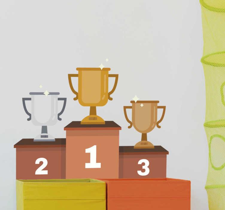 TenStickers. Naklejka dekoracyjna podium olimpijskie. Naklejka dekoracyjna przedstawiająca podium olimpijskie. Ładna dekoracyjna do pokoju każdego małego sportowca marzącego o wygraniu zawodów.