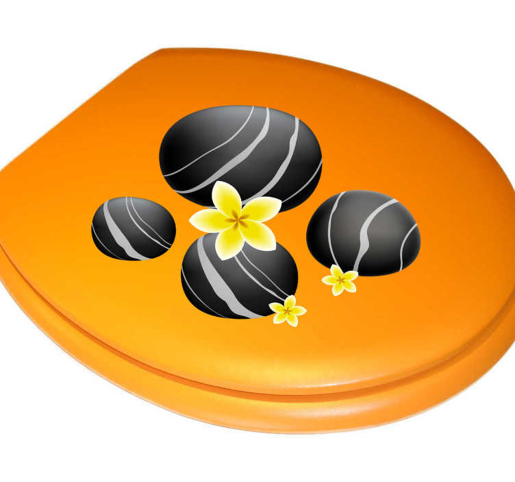 TenStickers. Stickers of black stones. Your toilet can become more comfortable and relaxaing with this sticker.