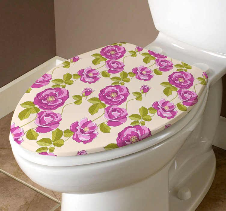 TenStickers. Floral Toilet Lid Sticker. Give a touch of colour with this lovely floral sticker