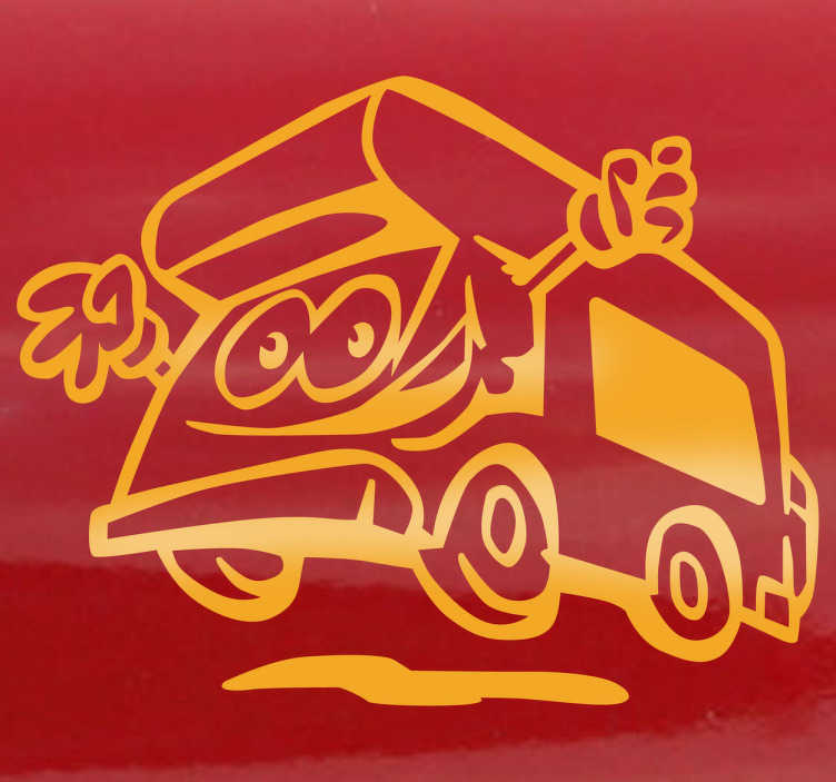 TenStickers. Fröhlicher Wohnwagen Sticker. Dieser Aufkleber ist ideal für das Kinderzimmer oder zur Dekoration von Reisezubehör. Fröhliches Design eines Wohnwagens.