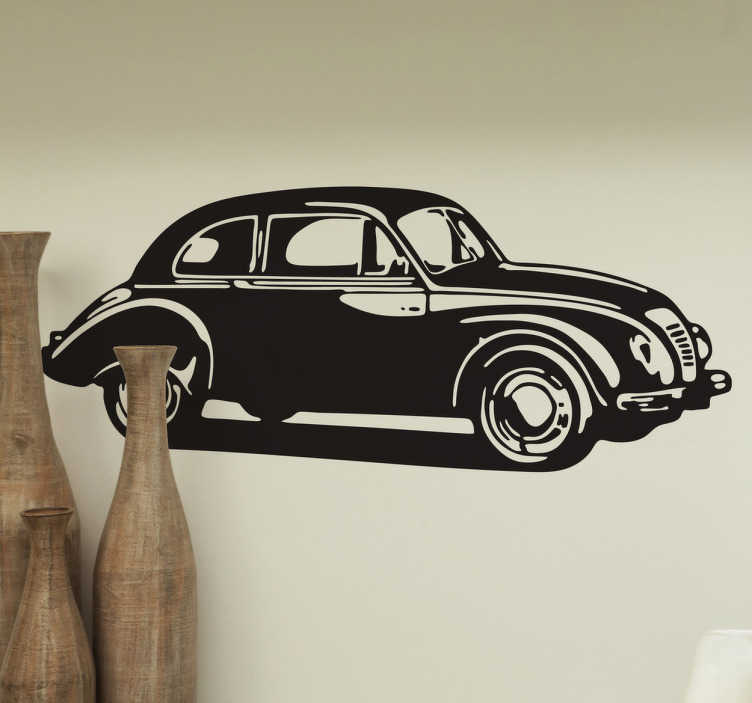 TenStickers. Vintage bil sticker. Wall sticker med motiv af vintage bil. Elsker du biler? så er dette klistermærke perfekt til dekorationen af dit hjem. Fås i mange forskellige størrelser