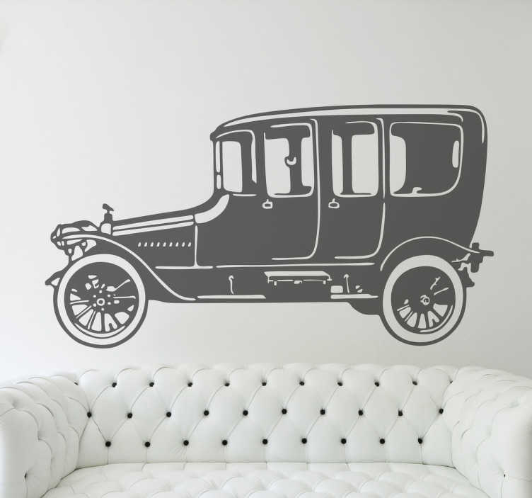 TenStickers. Sticker decorativo macchina d'epoca. Adesivo decorativo che raffigura un elegante veicolo d'epoca. Una decorazione ideale per gli appassionati di storia dell'auto.
