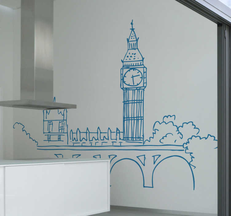 TenStickers. Naklejka rysunek Big Ben. Naklejka na ścianę przedstawiająca rysunek wieży zegarowej w Londynie, która później została nazwana Elizabeth Tower.