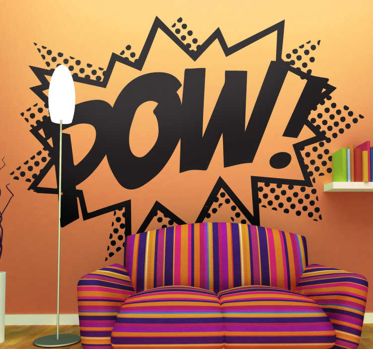 "TenStickers. Lichtenstein's ""POW!"" Modern Wall Sticker. Decal of a very well know piece of art by the famous pop art artist; Roy Lichtenstein.A creative design from our modern wall stickers collection."