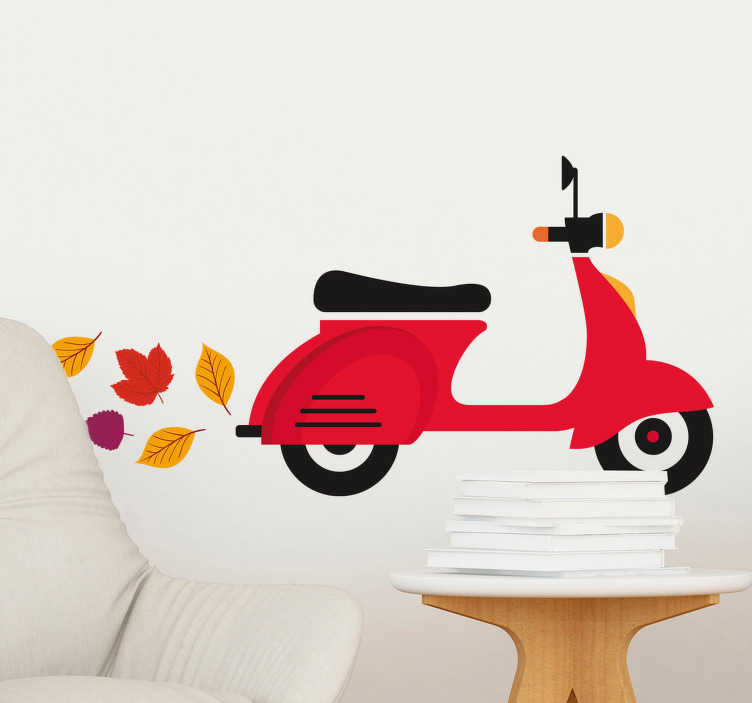 TenStickers. Vespa Scooter Leaves Wall Sticker. Room Stickers -  Modern design of a Vespa silhouette polluting the air with leaves. Eco-friendly.  Wall decals for styling your home.