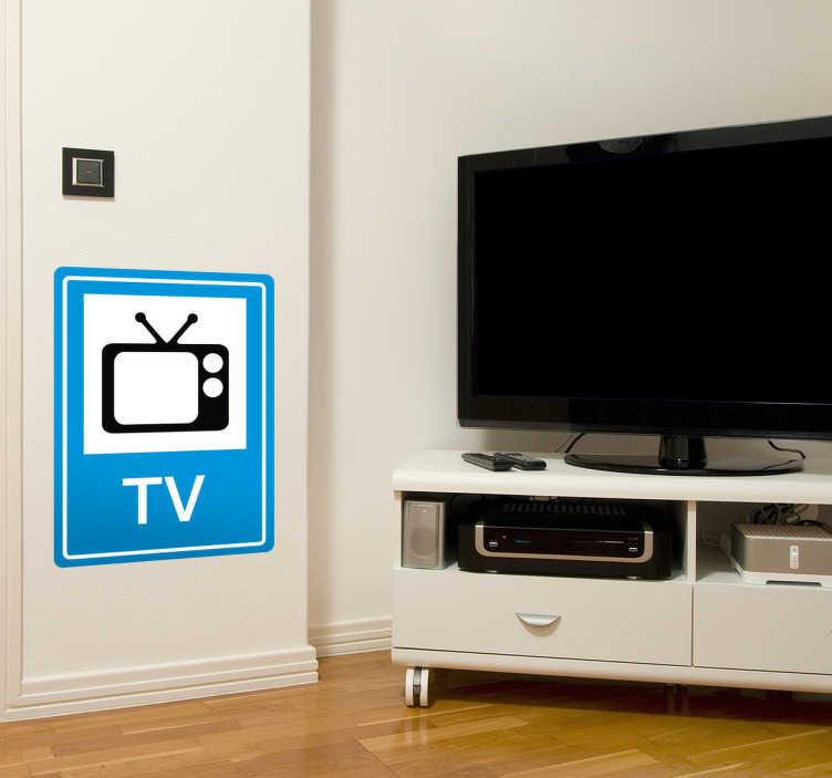 TenStickers. Naklejka znak TV. Naklejki na ścianę imitujące informacyjny znak drogowy przedstawiające kształt telewizora z napisem TV.