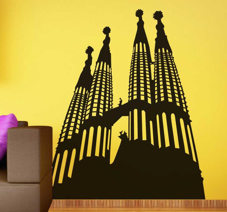 TENSTICKERS. サグラダファミリアスカイラインステッカー. あなたがバルセロナを愛しているなら、バルセロナで最も有名な建物を描いているこのステッカーは、あなたにとって完璧です!