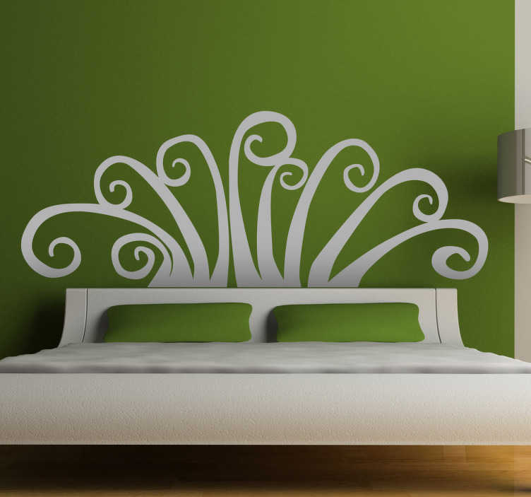 TenStickers. Abstract Floral Headboard Wall Decal. Headboards- Original and distinctive decoration feature above your bed. Abstract wall sticker available in 50 colours and various sizes.