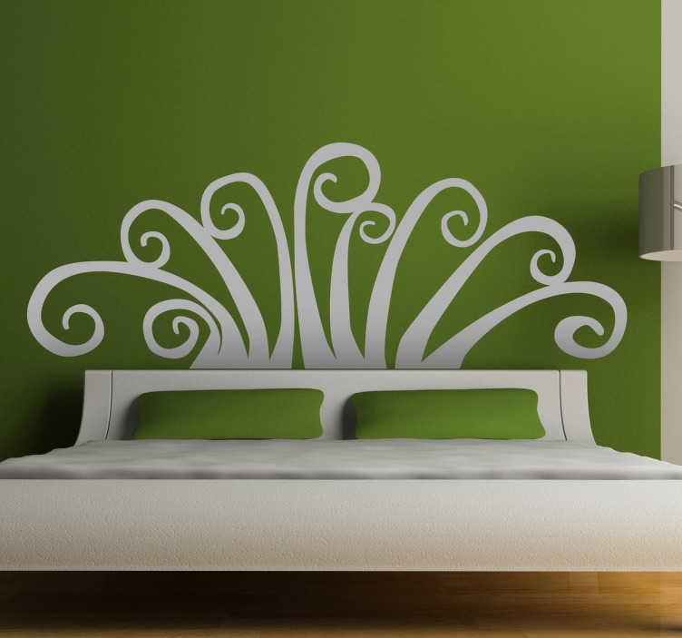 TenStickers. Abstraktni cvetlični vzglavje nalepka za steno. Vzglavja - izvirna in izrazita dekoracija nad posteljo. Abstraktna stenska nalepka na voljo v 50 barvah in različnih velikostih.