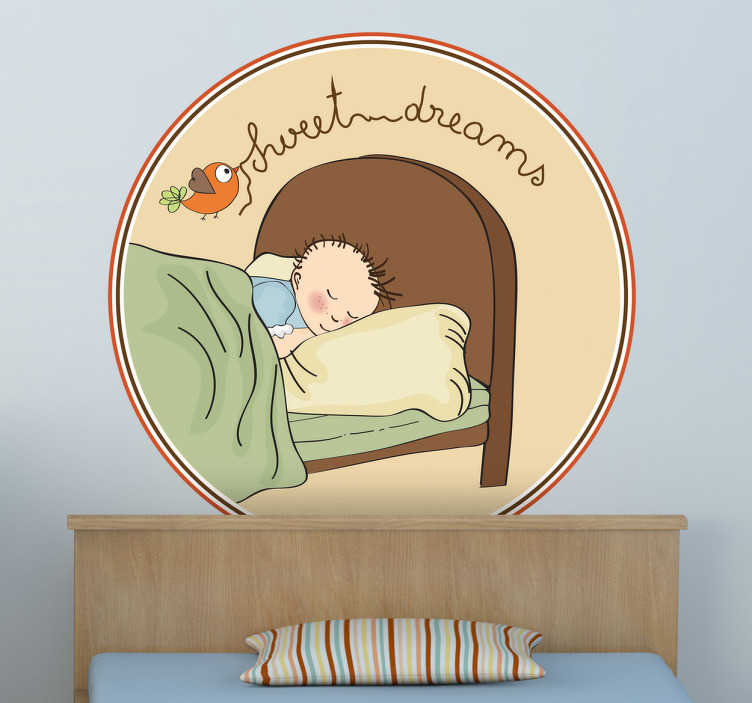 TenStickers. Boy Sweet Dreams Headboard Wall Decal. Kids Wall Stickers - Sweet illustration of a boy toddler sleeping peacefully. Ideal for kids bedrooms. Available in various sizes.