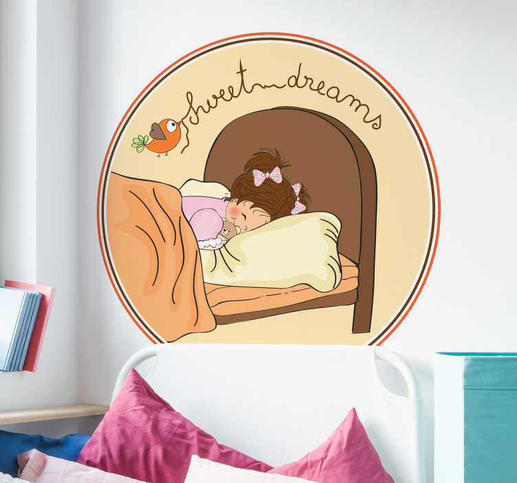 TenStickers. Girl Sweet Dreams Headboard Wall Decal. Kids Wall Stickers - Sweet illustration of a girl toddler sleeping peacefully. Ideal for kids bedrooms. Available in various sizes.