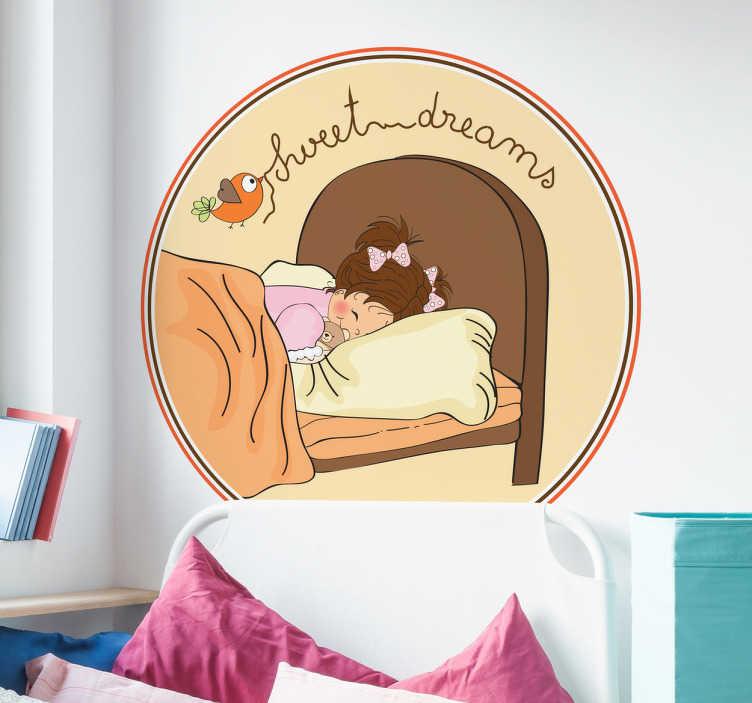 TenStickers. Naklejka słodko śpiąca dziewczynka. Naklejka na ścianę dla dzieci przedstawiająca uroczą dziewczynę w głebokim śnie a nad jej łózkiem napis 'sweet dreams'.