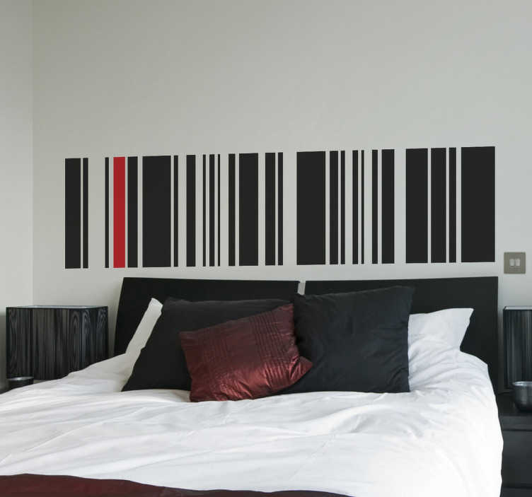 TENSTICKERS. 裏地付きバーコード寝室用ステッカー. あなたの部屋のベッドボードを飾るためにラインステッカーのコレクションからバーコードを示す素晴らしいデザイン。あなたの寝室に洗練されたスタイリッシュな外観を与えるエレガントでユニークなデザイン。
