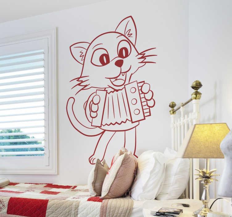 Naklejka dekoracyjna kot z akordeonem