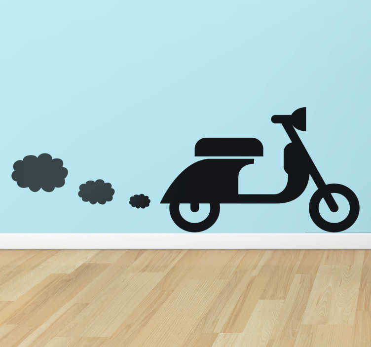 TenStickers. Vespa Scooter Wall Sticker. A silhouette design of an iconic Italian Vespa scooter that is leaving little clouds of smoke in the air.