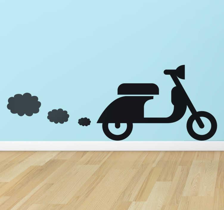 TenStickers. Naklejka dekoracyjna Vespa i dymki. Naklejka dekoracyjna przedstawiająca słynny włoski motocykl Vespa i małe obłoczki dymu. Różne kolory i wymiary.