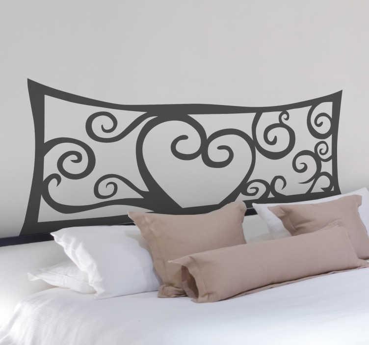 TenStickers. Mural de parede cabeceira abstrata. Mural de parede para cabeceira de cama com desenhos abstratos e formando um coração romântico no seu centro.