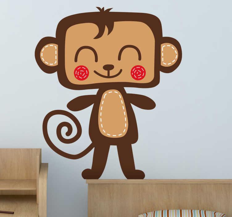 Adhesivo infantil mono sonriente
