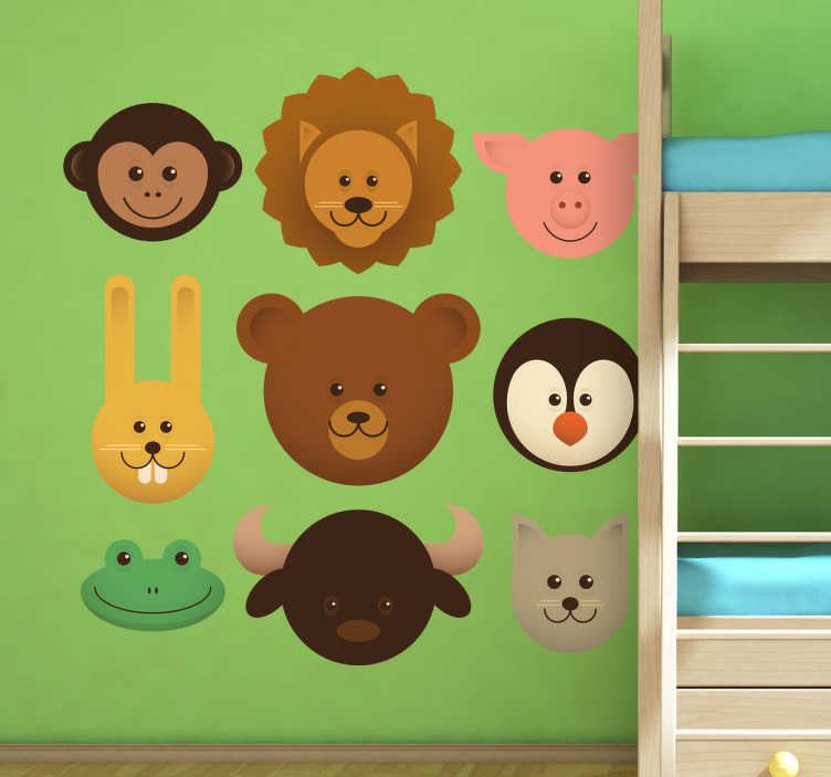TenStickers. Muursticker kind collectie dieren. Deze muursticker omtrent een collectie van dierenhoofdjes in vrolijke kleuren en vormen. Ideaal ter wanddecoratie voor kinderen.