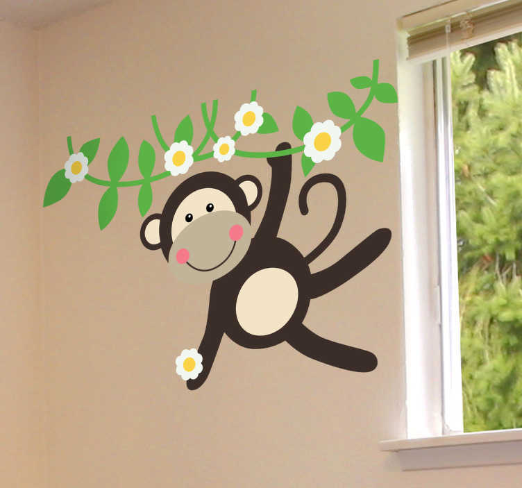 TenStickers. Monkey Swinging From Flowers Sticker. A kids swinging monkey wall sticker! Our collection of wild animal stickers are perfect for your kids room This kids monkey decal creates a cute and playful atmosphere for your youngest.
