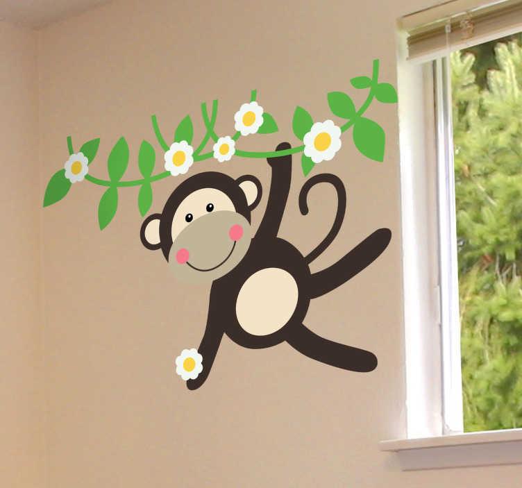 TenStickers. 원숭이 꽃 스티커에서 스윙. 원숭이 벽 스티커를 스윙하는 아이들! 야생 동물 스티커의 우리의 컬렉션은 귀하의 아이 방에 완벽합니다. 이 아이 원숭이 데칼은 당신의 막내를위한 귀엽고 쾌활한 분위기를 만듭니다.