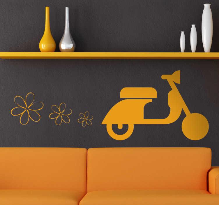TenStickers. Sticker scooter oranje bloemetjes. Decoreer elke gewenste ruimte met deze decoratieve muursticker van een kleurrijke scooter die bloemetjes uit de uitlaat spuwt! Dagelijkse kortingen.