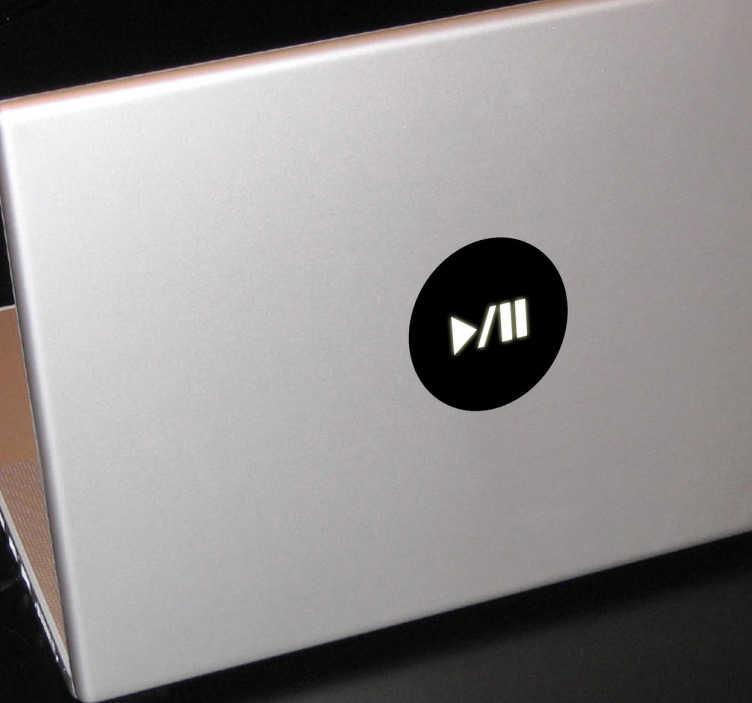 TenStickers. Naklejka na laptopa Play/Pause. Minimalistyczna naklejka przedstawiająca białe przyciski play i pause na czarnym tle.