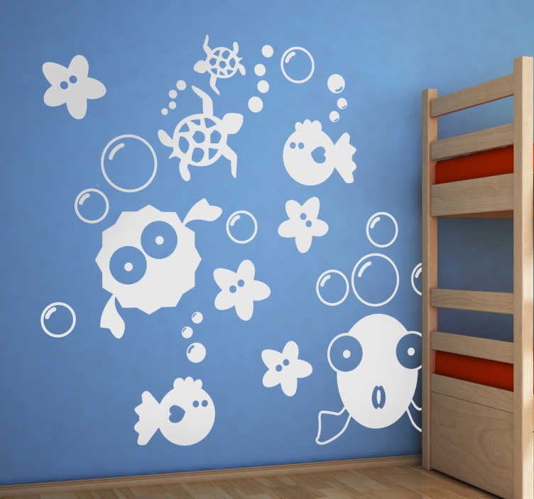 TenStickers. Kids Bubble & Fishes Wall Stickers. A collection of marine animal stickers to decorate your children's bedroom or play area. A design from our under the sea wall stickers collection.