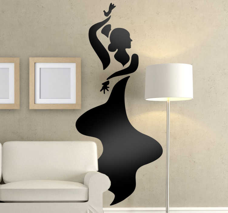 TenStickers. Flamenco Wall Sticker. A great monochrome wall sticker illustrating a flamenco dancer dancing the night away! Great flamenco decal for those that love this type of dance.