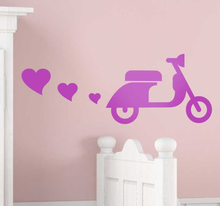 TenStickers. Vespa Scooter Hearts Wall Sticker. Room Stickers -  Modern design of a Vespa silhouette polluting the air with love hearts. Select your size and colour.