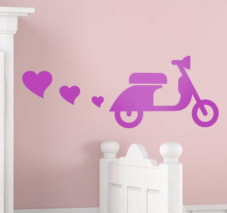 TenStickers. Sticker vespa cœurs. Une Vespa qui rejette des coeurs par le pot d'échappement, un sticker original pour décorer les murs de votre maison. Choisissez votre couleur et vos dimensions personnalisées.