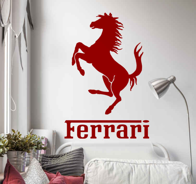 TenStickers. Ferrari logo muursticker. Decoreer al uw voertuigen, muren of gladde oppervlakten met deze muursticker met Ferrari logo.