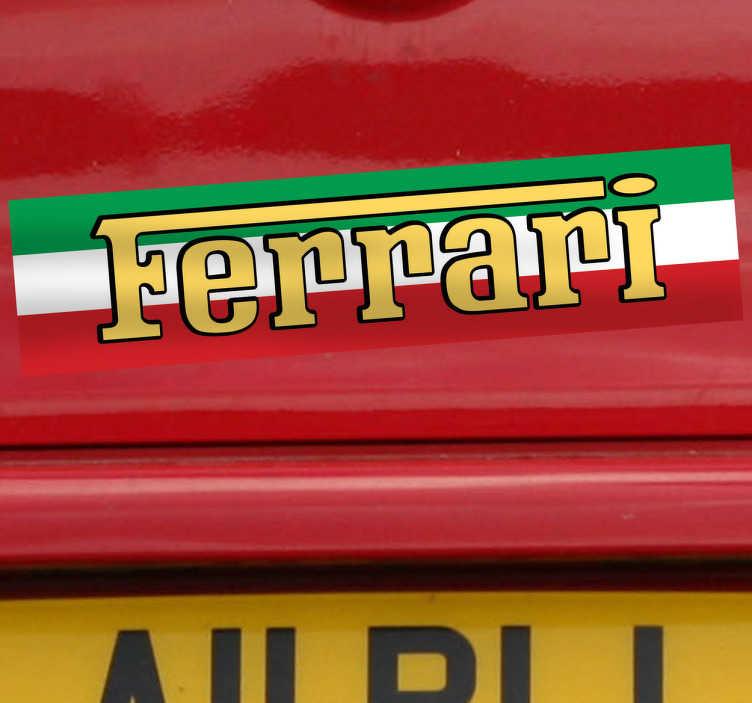 TenStickers. Naklejka Ferrari włochy. Naklejka dekoracyjna z napisem Ferrari na tle narodowych barw Włoch. Obrazek przeznaczony do aplikacji na samochód.