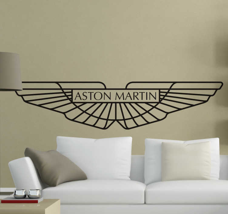 TenStickers. Aston Martin Logo Wall Sticker. Room Stickers - Illustration logo of the luxury British car brand Aston Martin. Ideal for your room or wardrobe