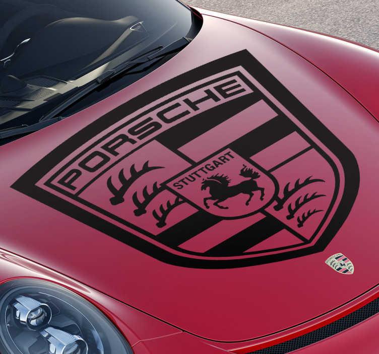 TenVinilo. Vinilo decorativo marca Porsche. Famoso emblema en adhesivo de esta marca alemana de vehículos de lujo. Decora cualquier estancia de tu casa o la carrocería de tu coche.