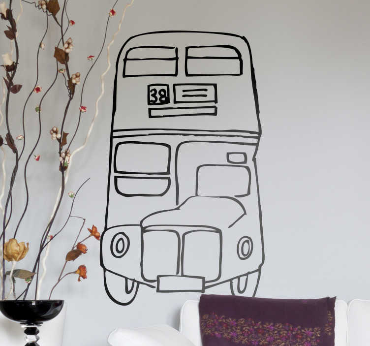 TenStickers. London Bus Wall Sticker. Room Stickers -  Front view of a route master london bus. A design thats great for any room or studio. Wall decals for styling your home.
