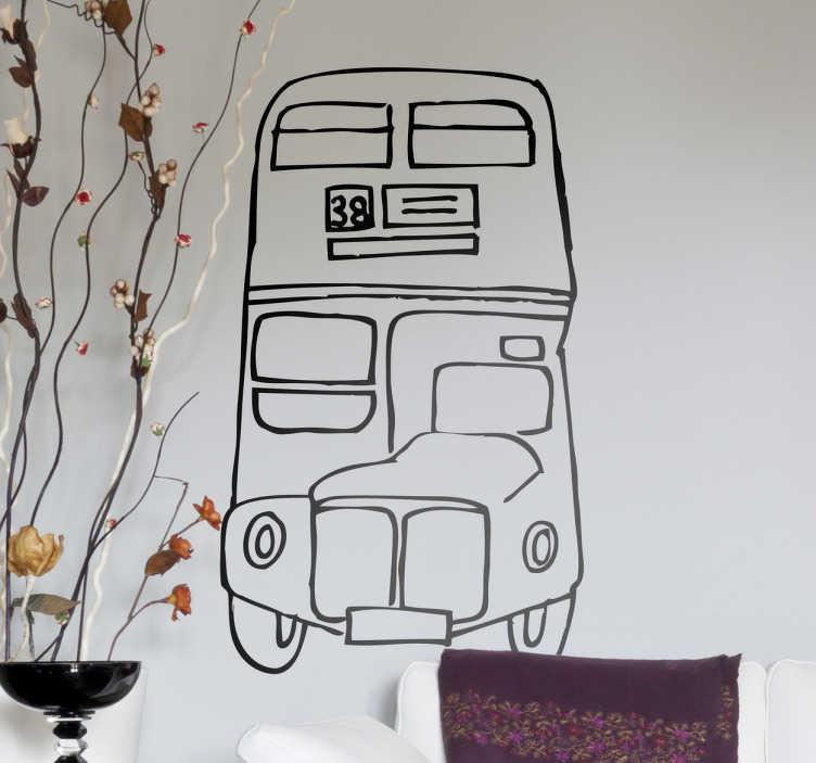TenStickers. London bus tegning hjemmemur klistermærke. Britain, england, london og den røde traditionelle bussticker. Denne alternativt designet tegning af en sådan bus er en kølig unque dekoration af dit hjem.