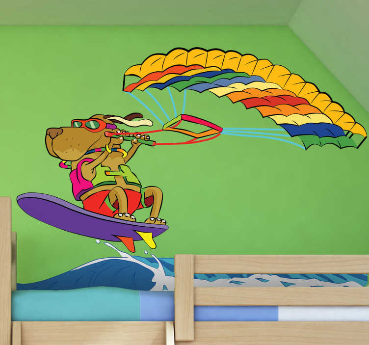 Adhesivo decorativo perro surfeando