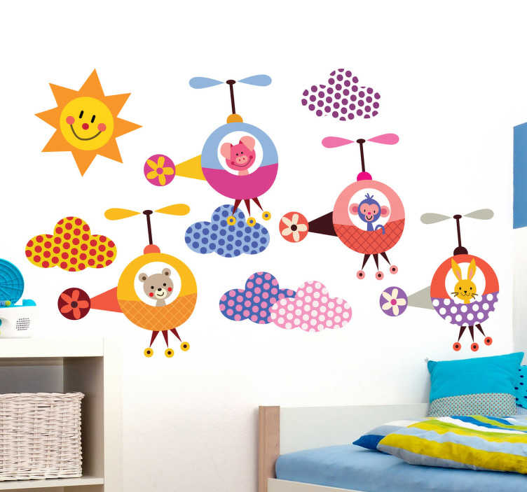 TenStickers. Kids Animal Helicopter Formation Flying Decals. Kids Wall Stickers - Playful and fun illustrations of adorable animals in helicopters with a happy sun and vibrant clouds. Colourful collection of stickers ideal for children. Available in various sizes. Made from high quality vinyl. Easy to apply and easily removable.