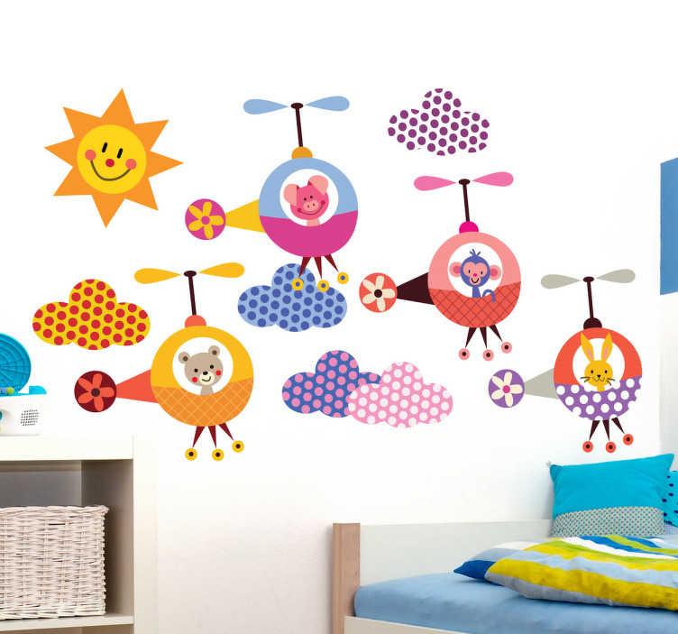 TenVinilo. Sticker infantil animales helicóptero. Colorida colección de pegatinas de un conejo, un cerdo, un oso y un mono sobrevolando un cielo con nubes y sol.