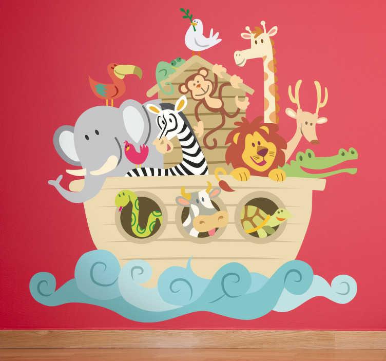 TenStickers. 诺亚的方舟儿童贴纸. 由诺亚建造的圣经船的设计的梦幻动物贴纸。