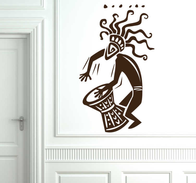 TenStickers. African Musician Wall Sticker. Room Stickers -  African theme decal of a drummer - feel the rhythm. Wall decals for styling your home.